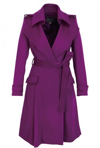 <p>One of the key looks of the A/W 2012 collection is this vibrant magenta trench coat with lapels, epaulets and cuff detail. It's a show-stopping piece that will get you noticed in a major colour theme for next season.</p> <br><span style=