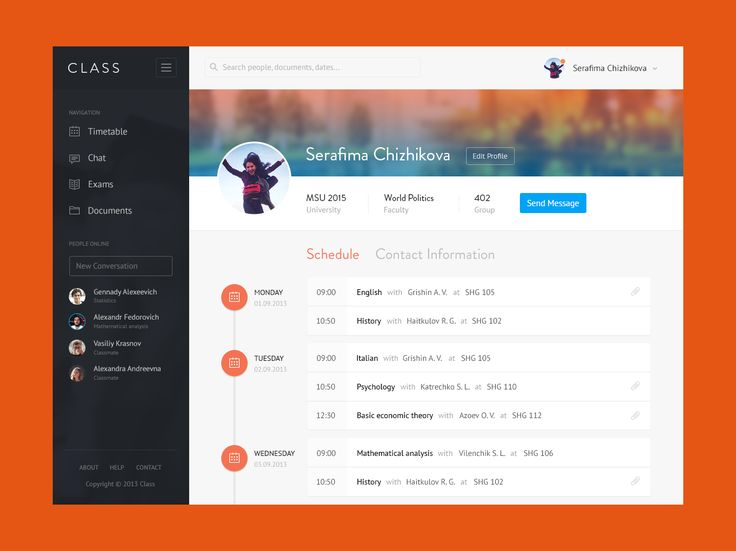 Class Management App | Admin Profile UI Design. TAGS: #calendar #timeline