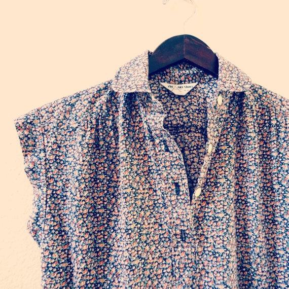 70s floral shirt dress
