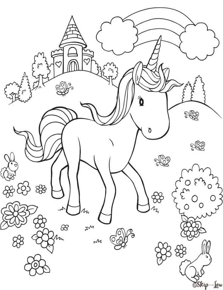 unicorn castle flowers rainbow coloring page in 2020