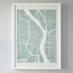 18 x 24 silk screen printed map of downtown portland for Ikea portland directions