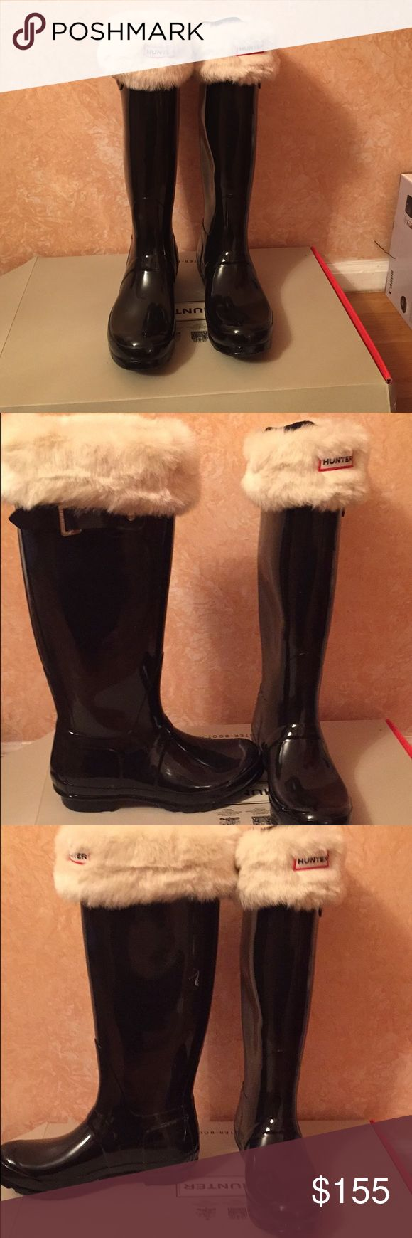 Brand new hunter boots with socks! Brand New Hunter Rain Boots With Fur Boot Socks In Box And Ready To Go! Hunter Shoes Winter & Rain Boots
