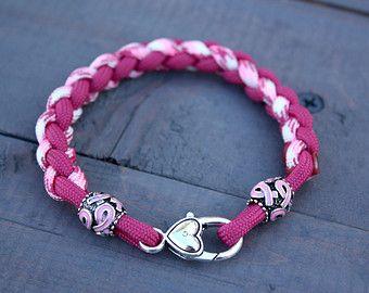 Braided Breast Cancer Awareness Paracord Bracelet with Pink Ribbon Barrel Beads - Womens Bracelet - Round Braid - Handmade