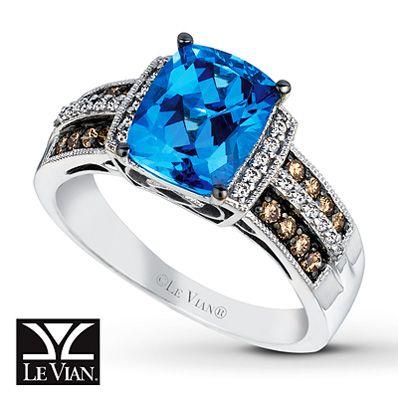 LeVian Blue Topaz Ring Chocolate Diamonds 14K Vanilla Gold. $1,529