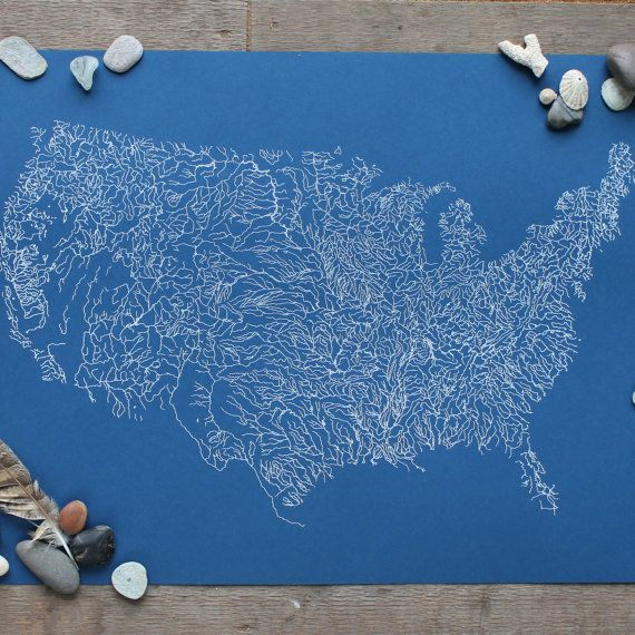 Rivers of America Map Poster Print: Screenprint, River Map of United States, Gift for Boyfriend Gift, Brother Gift, Art Print Map Art 18×24