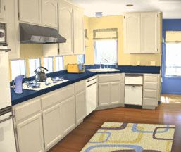 Yellow Walls Blue Counters And White Cabinets That Rug Throws Me Off Though
