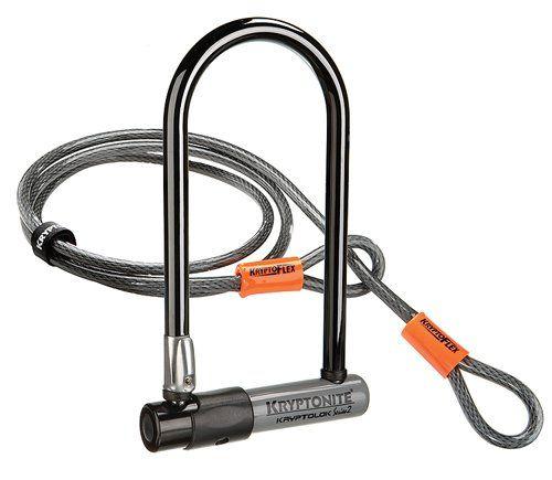 Kryptonite Kryptolok Series 2 Standard Bicycle U-Lock with Transit FlexFrame Bracket (4-inch x 9-inch) with 4-Foot Flex Cable