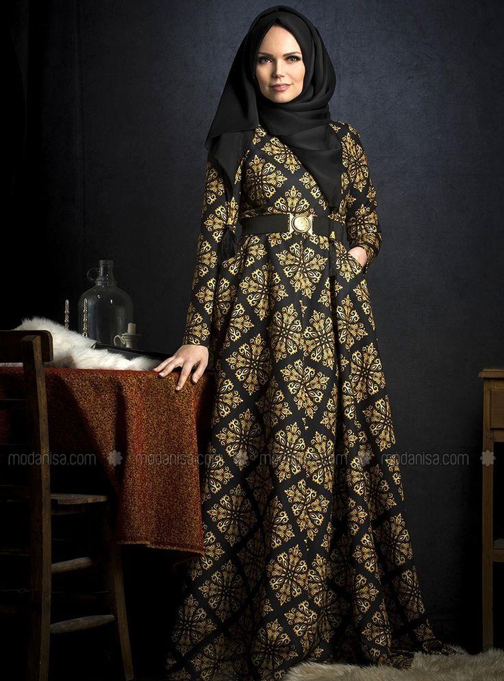 Gold Patterned Dress - Black - Muslima Wear
