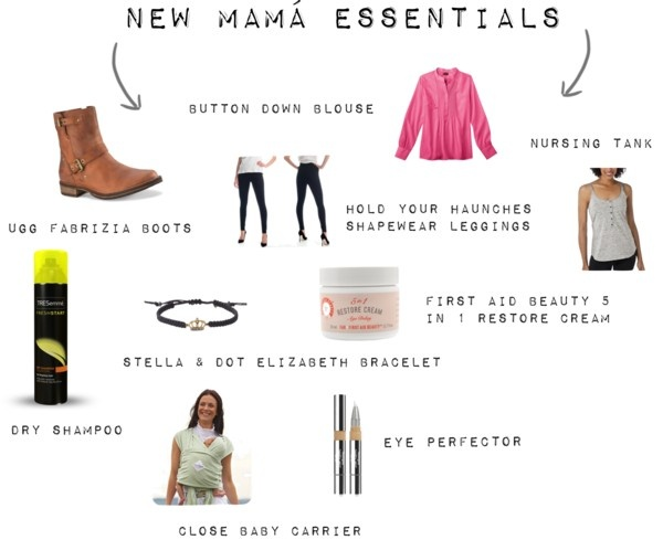New mama essentials: Hold Your Haunches leggings, loose blouse, Ugg Fabrizia boots, nursing cami, #Neutrogena concealer/eye perfector, First Aid Beauty 5 in 1 Restore Cream, Close Baby Carrier and TRESemme Dry Shampoo