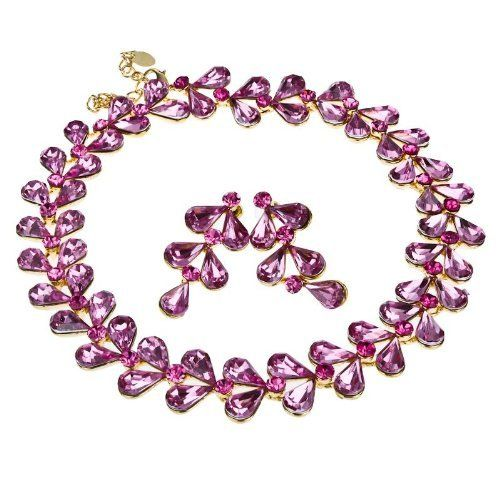 Arinna Alluring Cute Multi Pink Fashion Earrings Necklace Set Gold Gp Swarovski Elements Crystal Arinna. $27.98