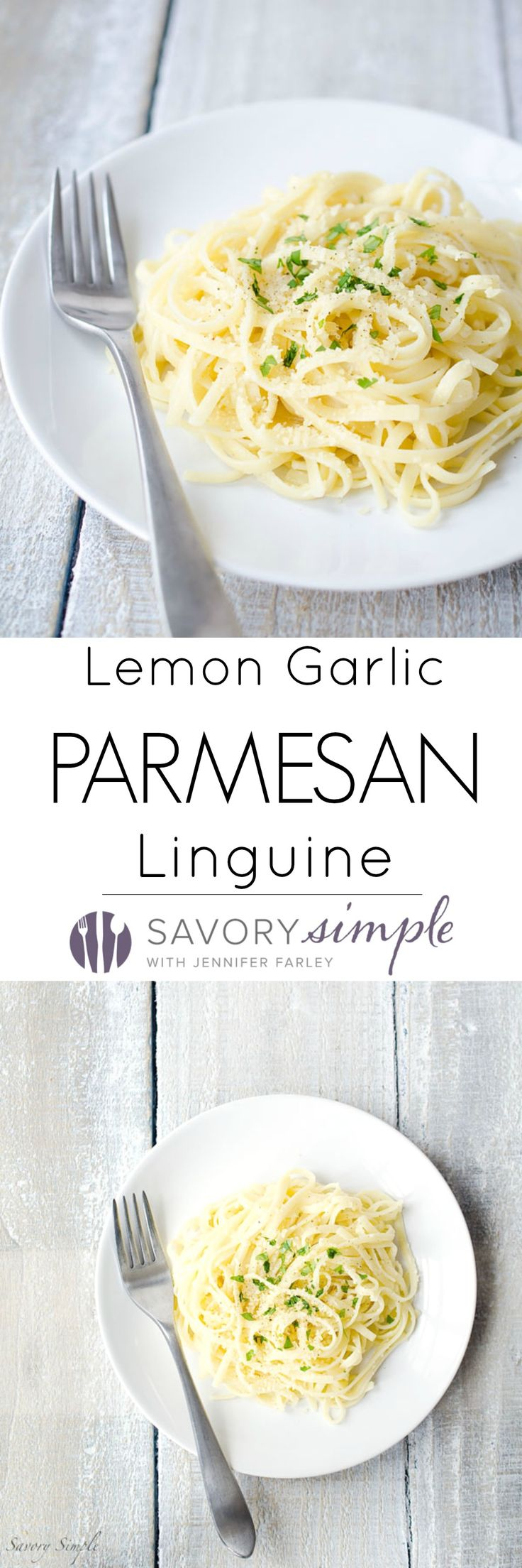 This Lemon Garlic Parmesan Linguine is a super easy dinner that's ready in under 20 minutes! Get the recipe from SavorySimple.net