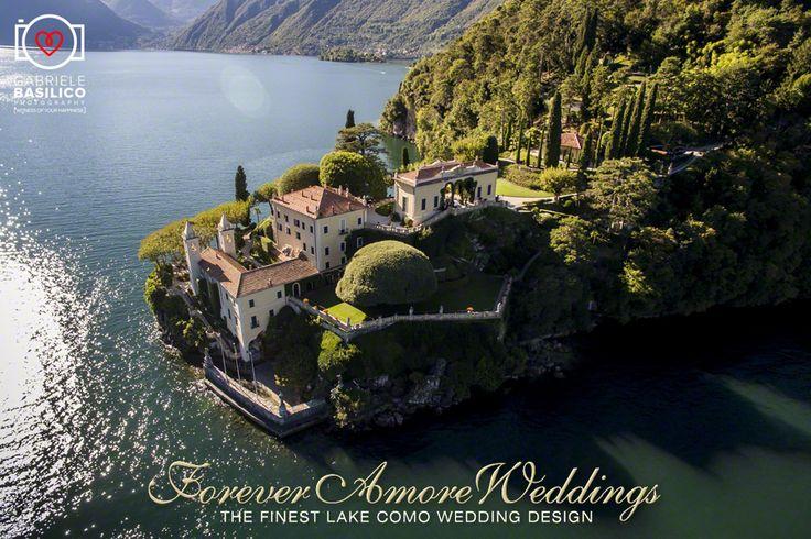 Drone view of splendid Villa Balbianello, Lake Como, Italy. Picture by Gabriele Basilico ©