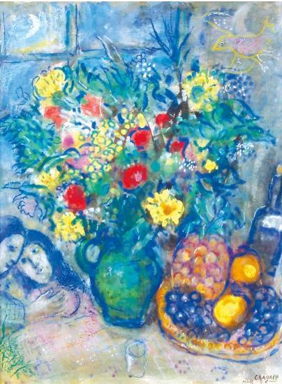 By Marc Chagall (1887-1985), 1962,  Vase de fleurs a l'ananas, watercolor, gouache and pastel crayon on paper mounted on canvas.