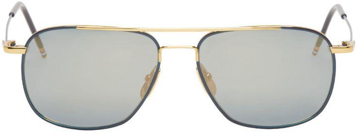 Thom Browne - Gold & Navy Flash Aviator Sunglasses