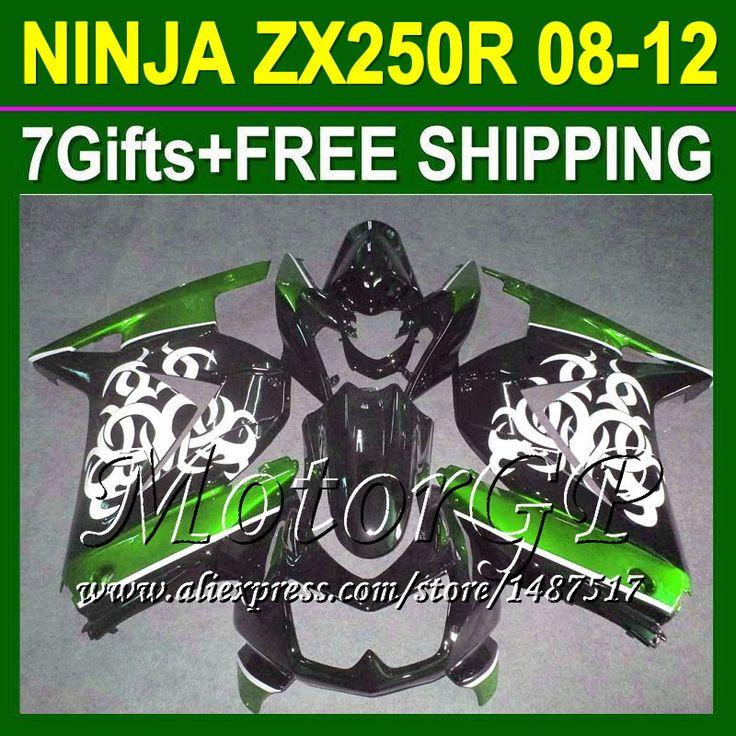 Купить товар7 подарки + для Kawasaki ниндзя 250r зеленый черный ZX250R ZX 250 16 # 140 ZX250 2008 2009 2010 зеленый 08 09 10 11 12 зализа в категории Щитки и художественная формовкана AliExpress.