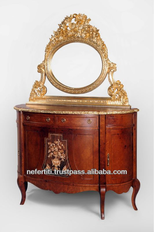 Best Quality Reproduction Entrance Antique Console Table with high class mirror $725