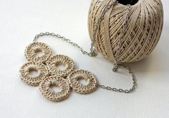 Bubble jewelry Crochet Necklace Neutral cotton by violasboutique, $16.00