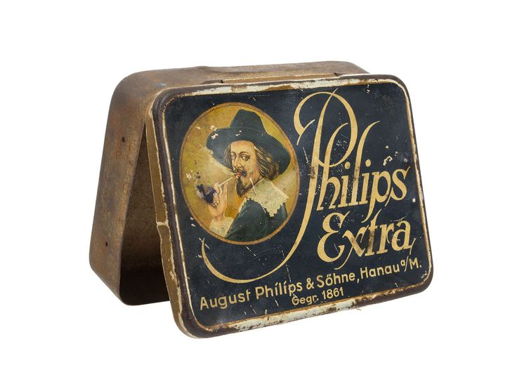 PHILIPS Extra, Tabakdose, Reklame Blechdose mit schöner Litho orig. um 1920 .  Belgian or Frensch Firm, one is my Collection