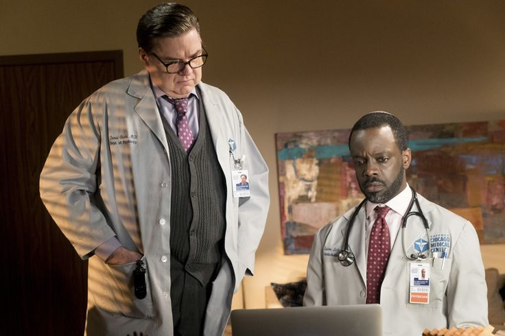 """Chicago Med - Season 2CHICAGO MED -- """"Graveyard Shift"""" Episode 211 -- Pictured: (l-r) Oliver Platt as Daniel Charles, Ato Essandoh as Isidore Latham -- (Photo by:…"""