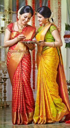 Pretty silk sarees. Love the red and gold one. Indian fashion. #BridalJewelry #Kamarbandh #Maangtikka