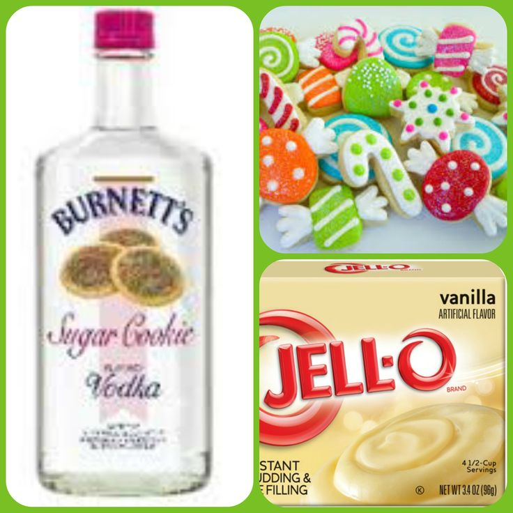 Christmas Sugar Cookie Pudding Shots  1 small Pkg. vanilla instant pudding  3/4 Cup Milk 3/4 Sugar Cookie Burnett's Vodka  8oz tub Cool Whip  Your favorite cookie decorations for garnish Directions 1. Whisk together the milk, liquor, and instant pudding mix in a bowl until combined. 2. Add cool whip a little at a time with whisk. 3.Spoon the pudding mixture into shot glasses, disposable shot cups or 1 or 2 ounce cups with lids and garnish then place in freezer for at least 2 hours