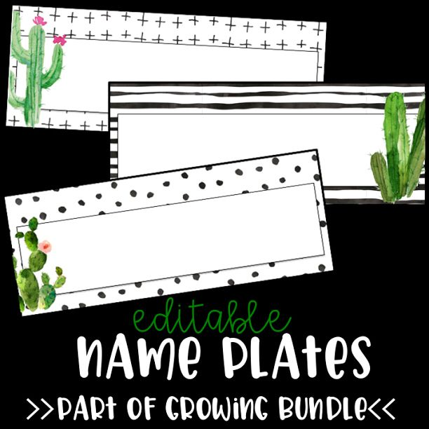 If you purchased the editable name plates, you're in luck!  I've decided to turn that product in to  a growing bundle!  The bundle currently includes editable name plates, editable labels in various sizes (one size fits the Target adhesive pockets perfectly), and number circles 1-40.  The price will increase when I add new items so grab it now! 🌵