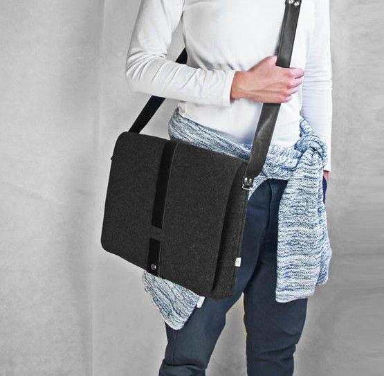 TORBA Z FILCU MEN 02 czarny zamek teczka na laptop w Torebki Filcowe Purol Design na DaWanda.com