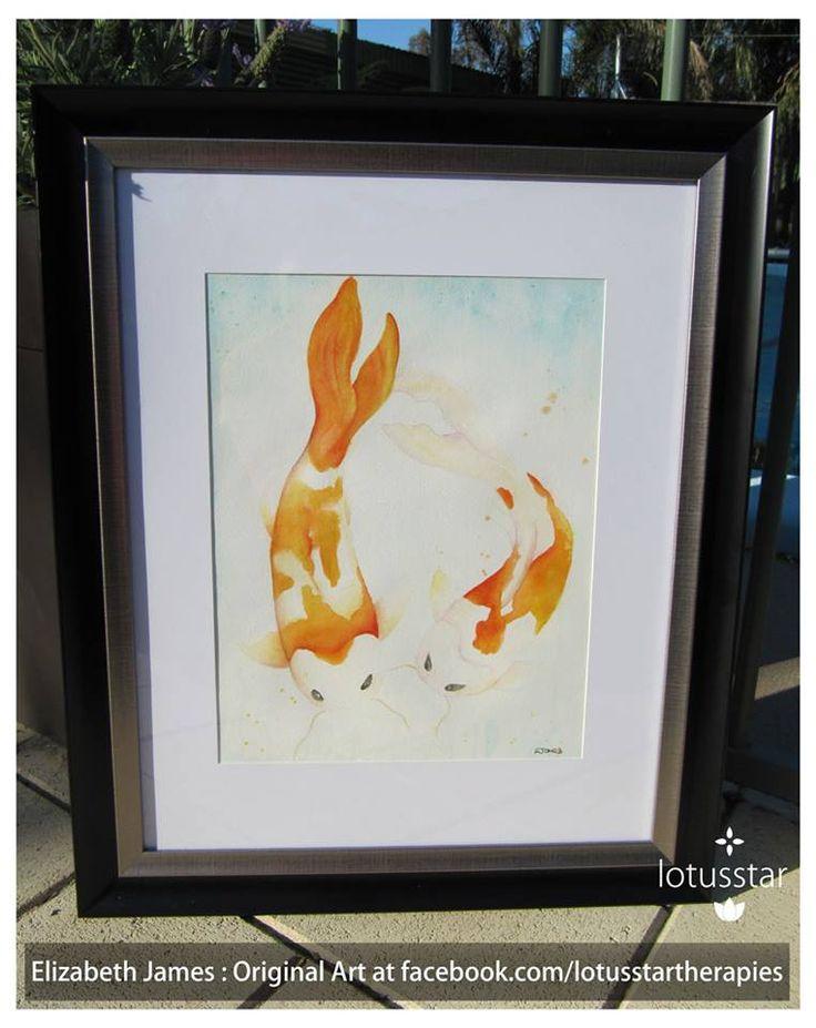 'Koi Dance' in watercolour 42x30cm framed by Elizabeth James. Original and fine art prints available via http://www.facebook.com/media/set/?set=a.675692062503221.1073741835.318539891551775&type=3  #koi #fish #watercolour #fineart #elizabethjames #lotusstar #adelaide