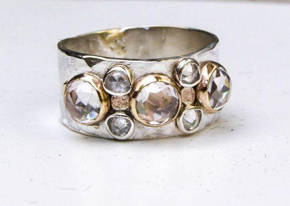 Anillo de compromiso único topacio blanco anillo de oro