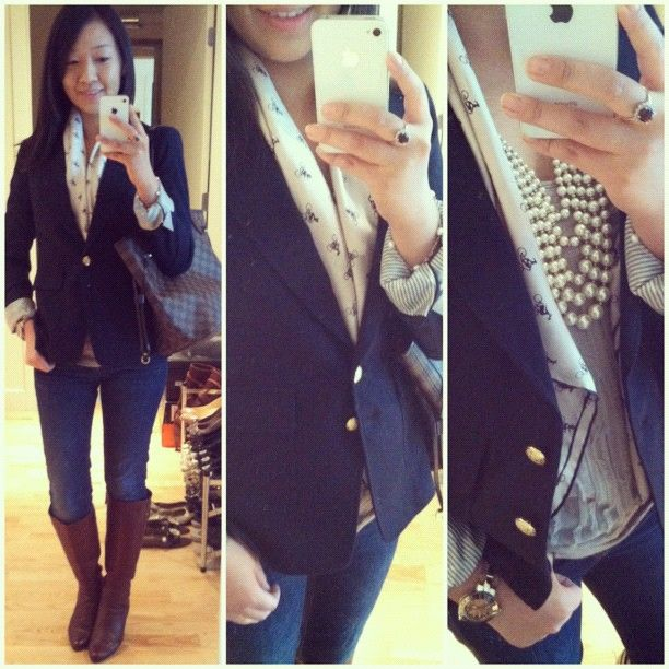 Banana Republic blazer, J.Crew top and #pearls, Club Monaco bicycle print silk scarf, Gap 1969 skinny jeans, Cole Haan boots, Louis Vuitton bag, Tiffany & Co. jewelry, rose gold ToyWatch.