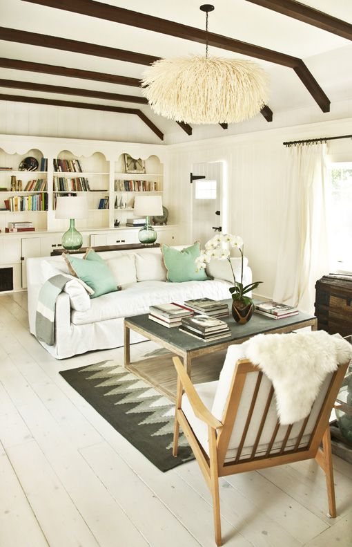 Birch + Bird: Soleil Organique Living Room  Home of Valerie McMurray.: Living Rooms, Lights Fixtures, Floors, Color Schemes, Expo Beams, Green Accent, Ceilings, Rugs, Woods Beams