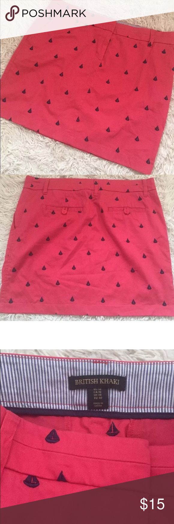 """British Khaki Skirt Women's British Khaki Sailboat Embroidered Skirt. Pink with blue sailboats. Side and back pockets. Belt Loops 97% Cotton 3% Spandex Women's Size 10. Measure 17"""" across waist laying flat. Length is 17"""" long from top of waist to bottom. British Khaki Skirts Pencil"""