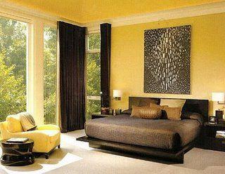 moderno cuarto dormitorio habitacion pintada de amarillo