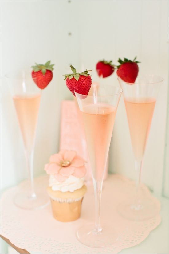 strawberry champagne toast #bridalshower #weddingtoast #weddingchicks http://www.weddingchicks.com/2014/02/18/pink-and-blue-bridal-ask-party