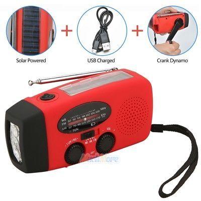 Emergency Solar Hand Crank Dynamo AM|FM|NOAA Weather Radio LED Flashlight Charge8