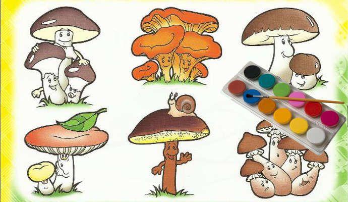 Раскраски ГРИБОВ для детей с названиями