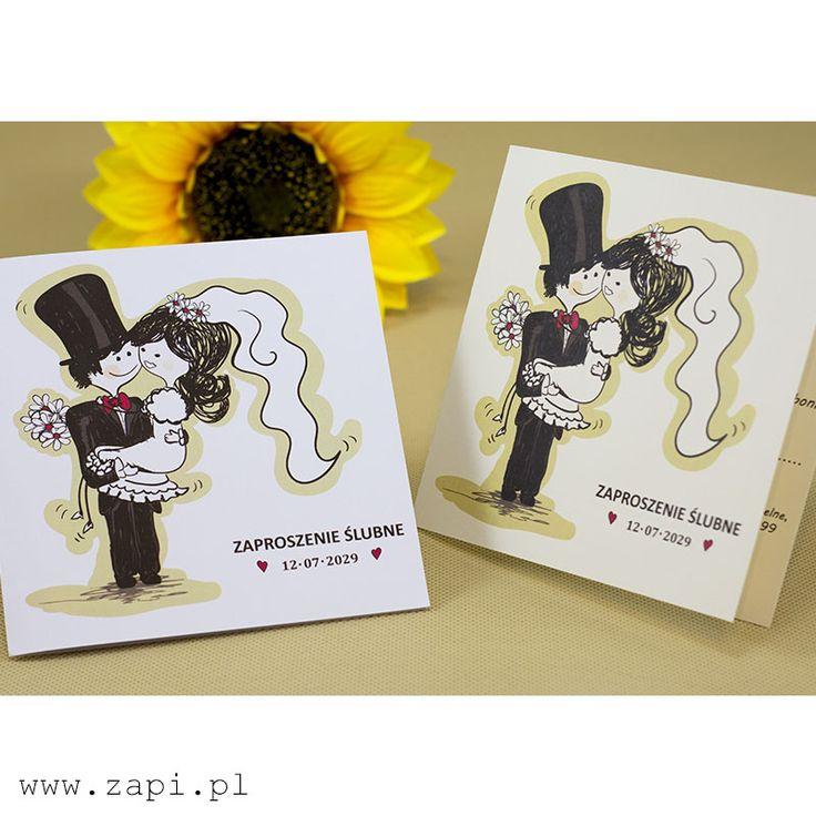 Zabawne zaproszenie ślubne z rysunkową grafiką Pary Młodej