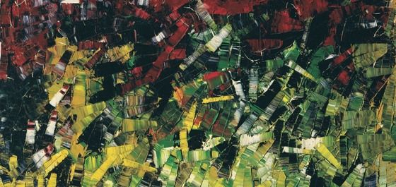 Jean-Paul Riopelle, Untitled (Green, Red and Yellow), 1954. Oil on canvas, 96.7 x 129.8 cm .