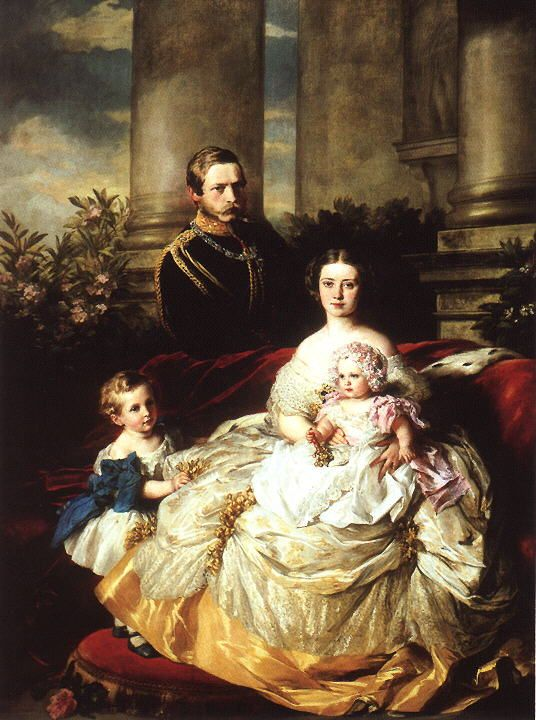 Emperor Frederick III of Germany with his wife, Empress Victoria, and their children, Prince William and Princess Charlotte by Franz Xavier Winterhalter, 1862  (Royal Collection)