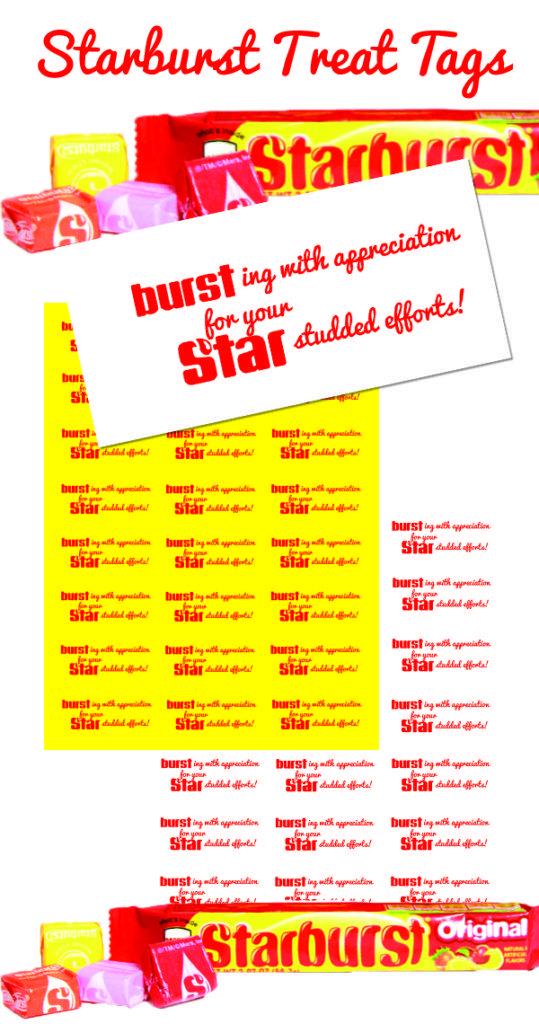 Printable Starburst Treat Tag Teacher appreciation