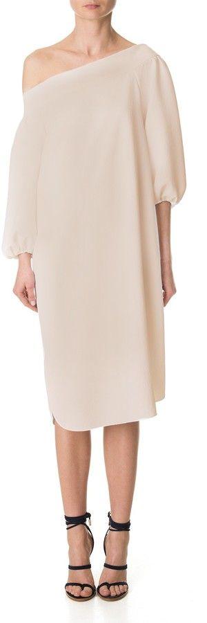 Tibi Drape Twill Off-Shoulder Dress
