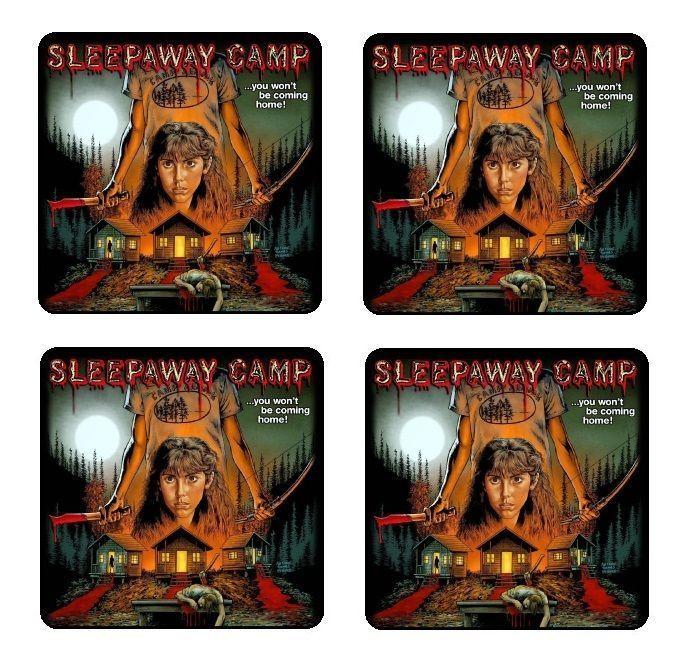 Sleepaway Camp Coaster & Holder Set Of 4 - Gloss Hardboard Cork Back Free Stand