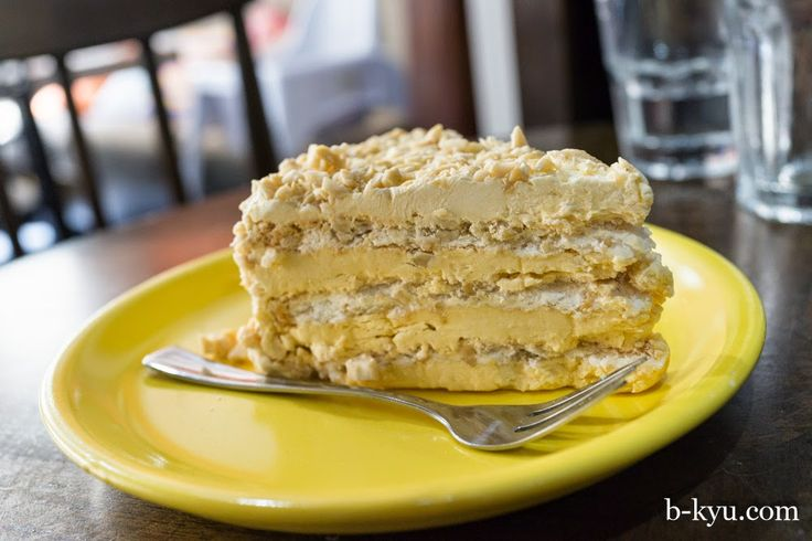 Sans Rival cake, layers of meringue and butter cream on B-Kyu: La Mesa Philippine Cuisine ~ Chinatown
