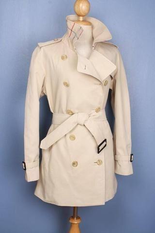 Womens Coat - Womens BURBERRY Bespoke Short Trench Coat Mac - Size UK 12/14 M/L $299