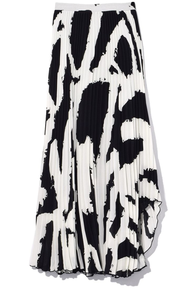 Pleated Skirt with Arched Hem in Black/White - Skirts - Clothing
