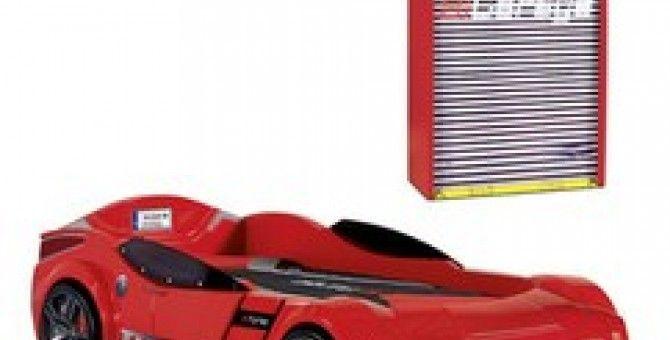 Conjunto cama y armario bioconcept rojo