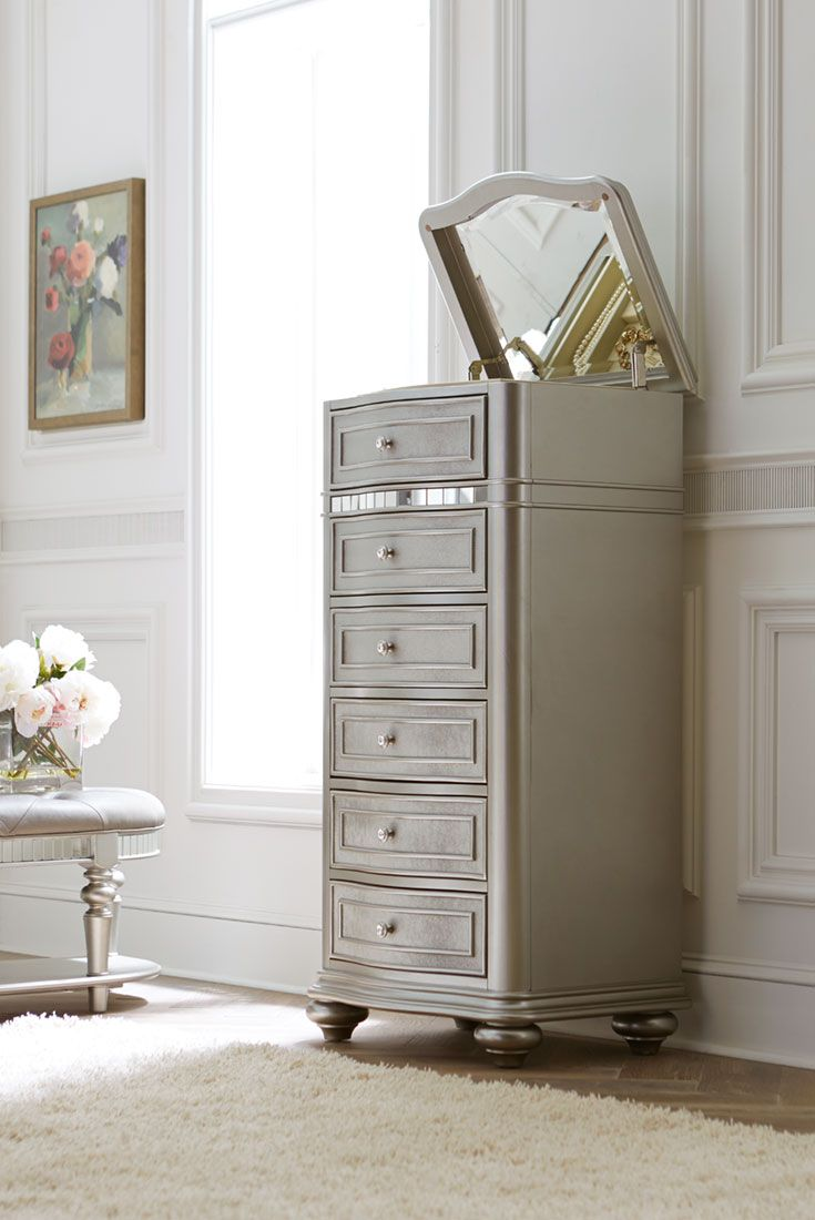 The Havertys Brigitte Lingerie Chest Boasts Glam Style With A Classic  Silhouette In A Platinum Finish