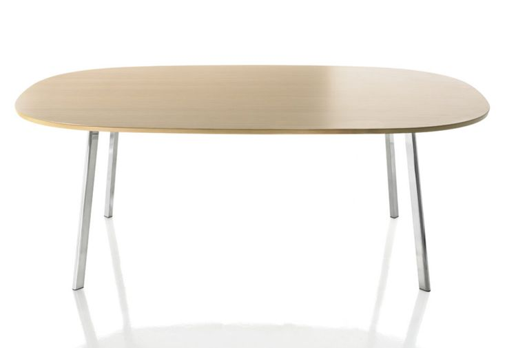 Deja-vu table, 2007 Designed by Naoto Fukasawa Manufactured by Magis|Table with legs in extruded, polished aluminium. Table top in MDF (painted; veneered in oak; or veneered in wenge stained oak).|98w x 98d x 74cmh 124w x 124d x 74cmh 160w x 98d x 74cmh 200w x 120d x 74cmh