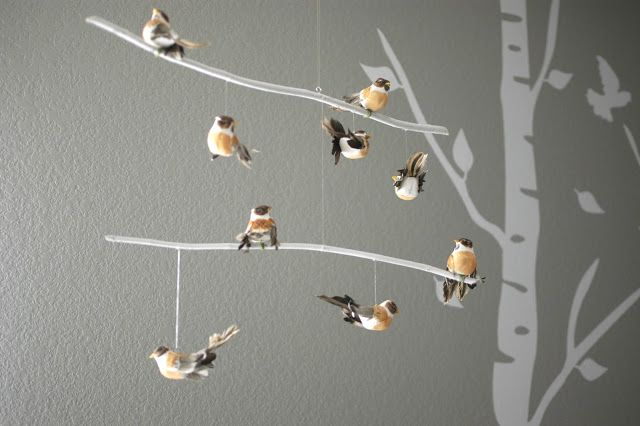 diy bird mobile, use found branches. Woodland Themed Nursery