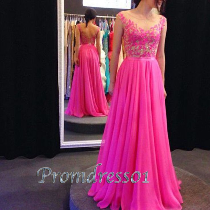 2016 cute rose chiffon long prom dress with lace top, homecoming dress, prom dresses for teens #coniefox #2016prom